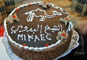 "The ""birthday"" cake from my friends....the inscription reads Mikael - the sheikh of the Bedu"