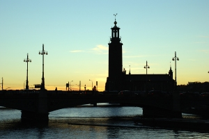 The townhall in Stockholm at sunset today....